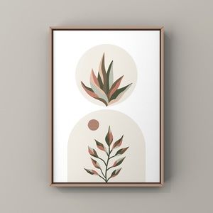 Mid century modern abstract leave Nordic art print